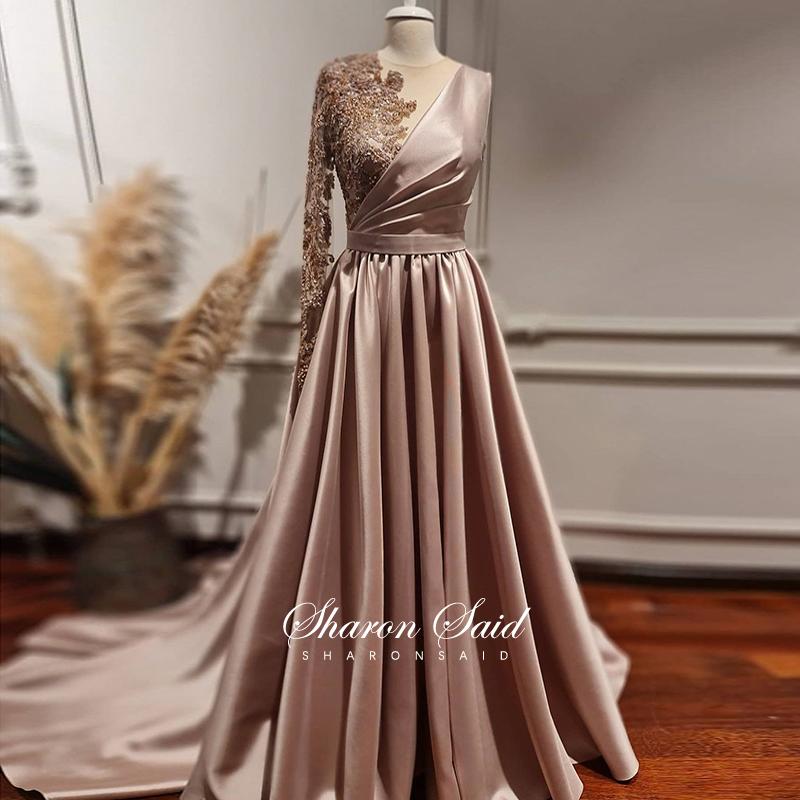 Rose Gold Long Sleeves Dubai Evening Dresses Muslim Women Wedding Party Gowns 2021 Elegant Silver Grey Arabic Engagement Dress