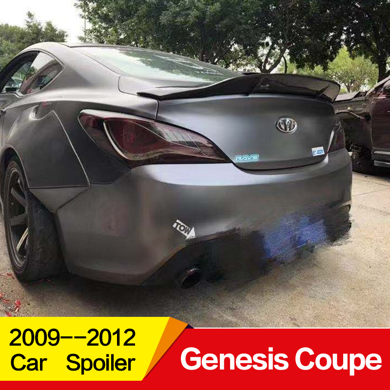 Use for Hyundai Genesis Coupe spoiler 2009 10 11 12 year glossy carbon fiber/FRP rear wing R style spoiler accessories