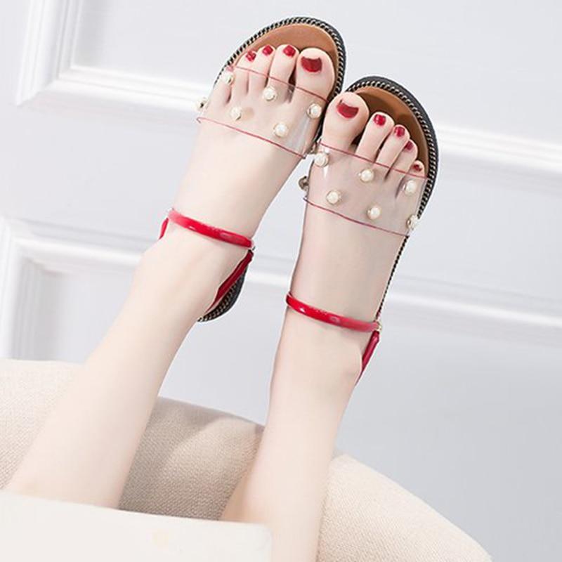 Women Flat Slippers  Transparent Slip