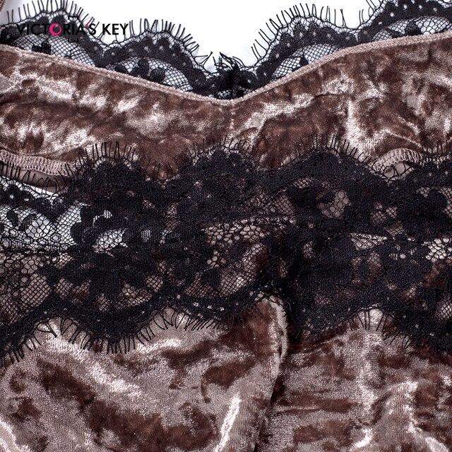 VICTORIA'S KEY Diamond Velvet Brown Pajamas Set Lace Cami Tops Shorts Women Nightwear Autumn Winter Home Suit Ladies Sleepwear 4