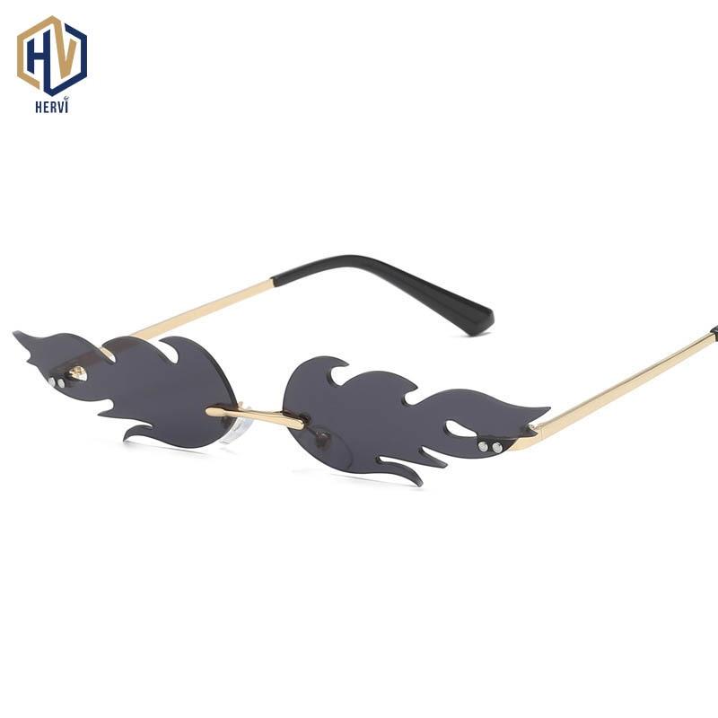 High Quality Flame Pattern Sunglasses Women Frameless Metal Small Sun Glasses Fashion Photochromic Eyeglasses UV400