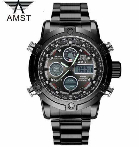 Man Watch Quartz dual movement waterproof sports LED display stainless steel watches luxury chronograph male clock AMST3022