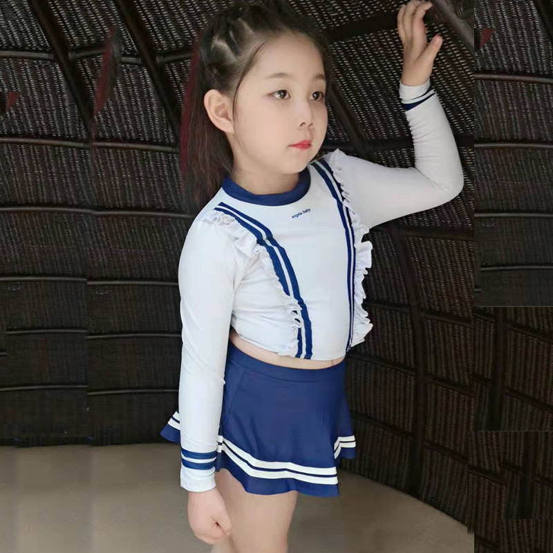 South Korea Split Type Tour Bathing Suit KID'S Swimwear GIRL'S Swimsuit Big Boy Princess Long Sleeve Sun-resistant Warm Kids