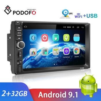 Radio para coche Podofo 2 Din 7 pulgadas, reproductor Multimedia Android, pantalla táctil de Autoradio con GPS, Bluetooth, FM, WIFI, Mirror Link Player ESTÉREO