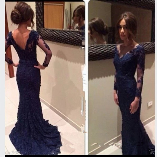 Vestido De Festa Navy Blue Formal Lace Evening Long Sleeve Mermaid Prom Gown 2020 V Back Women Mother Of The Bride Dresses