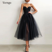 Verngo Simple Black/Dusty Pink A Line Short Evening Party Dress Satin Tulle Spaghetti Straps Sweetheart Tea Length Prom Gowns