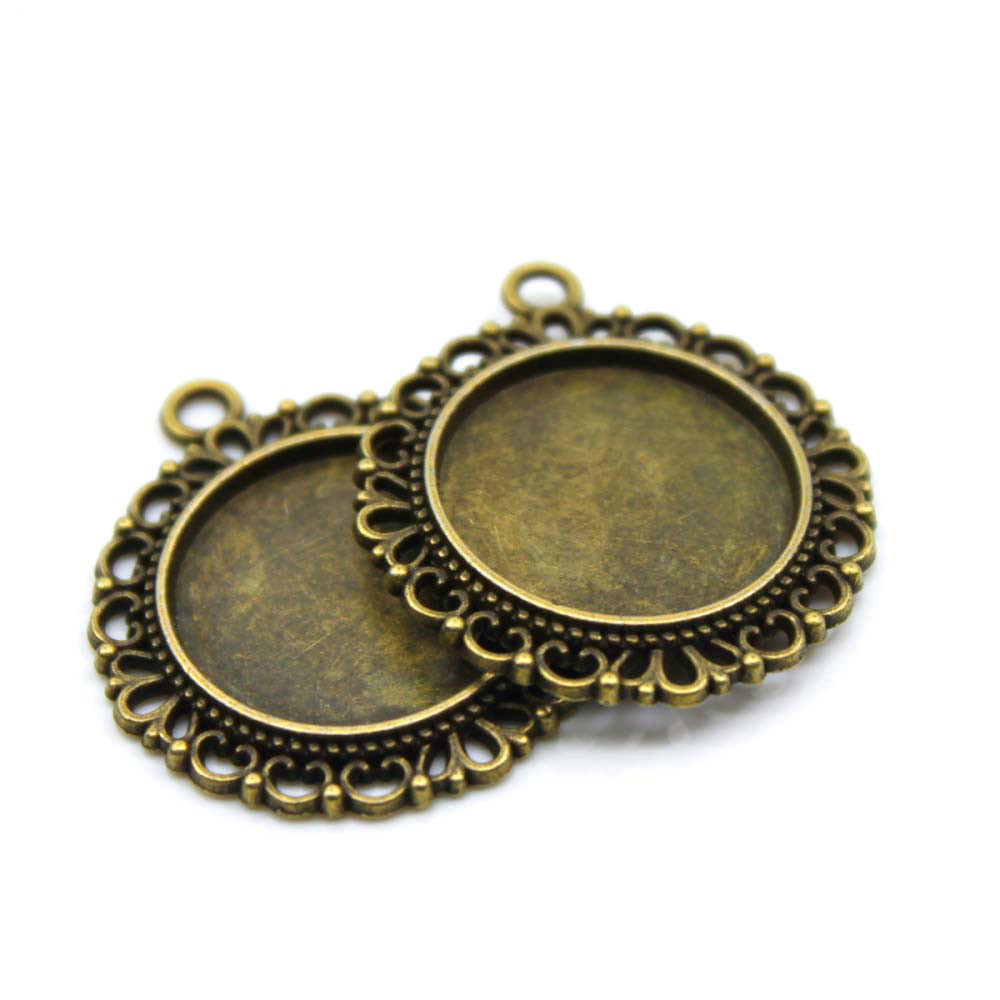 5pcs/lot 20mm Necklace Pendant Setting Antique Bronze Silver Glass Cabochon Blank Base Supplies for Jewelry Finding T1002