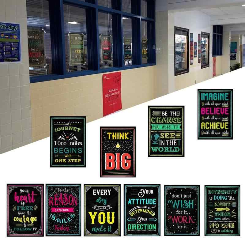 20*30cm 10 Style Motivational Classroom Wall Posters Inspirational Quotes Album For Students Teacher Classroom Decorations