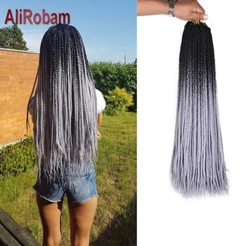 AliRobam Ombre caja trenzas Crochet pelo 24 pulgadas colorido sintético Zizi trenzado extensiones de pelo 22 Roots negro púrpura azul