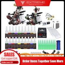 Beginner Complete Tattoo Kit Supplies 2 Machine Guns Power supply Needles Grip Tip Set