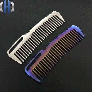 Image 1 - Titanyum tarak erkekler ve kadınlar için tarak saç kesme tarağı EDC