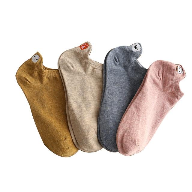 5 Pairs/lot 2021 Summer Cotton Cartoon Drew Socks Women Heel Bunny Carrot Cute Socks In Bulk Trend Ins Embroidery Women's Socks 6