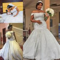Luxury Mermaid Wedding Dresses African Off Shoulder Bling Crystal Beading Cap Sleeves Vestidos De Noiva Formal Plus Size Dresse