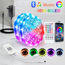 Bluetooth Musique 5M 10M 15M LED Bande Lumineuse RVB 60LED 5050 SMD Ruban Flexible luces lumière led bande 12V POUR chambre Décoration De La Maison