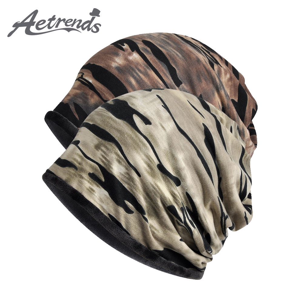 [AETRENDS] Winter Warm Windproof Beanie Camouflage Slouchy Hats For Men Women Skull Cap Outdoor Hiking Camping Cycling Z-9997