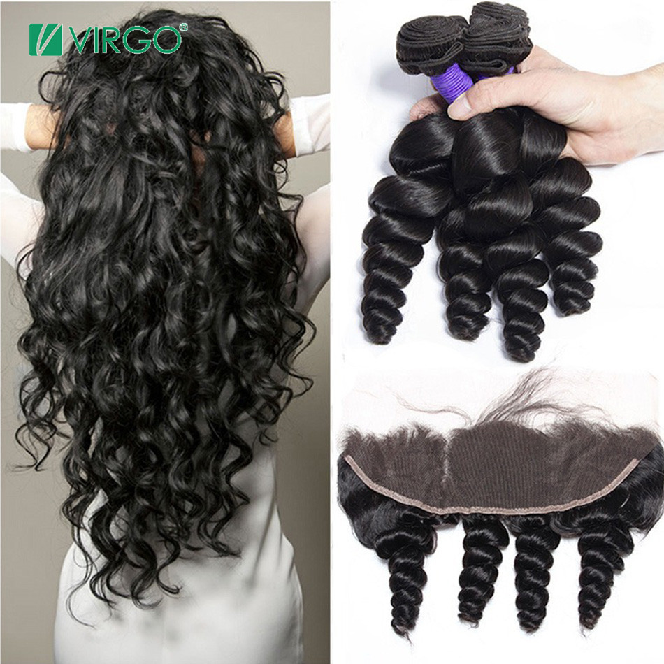 Brazilian Loose Wave 3 Bundles With Lace Frontal Closure Human Hair Bundles With Closure Virgo Hair Weave Remy Hair 4 Pcs/lot