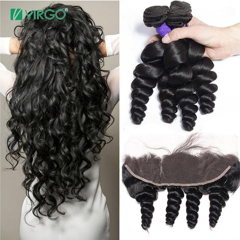 Brasilianische Lose Welle 3 Bundles mit Spitze Frontal Verschluss Menschliches Haar Bundles mit Verschluss Jungfrau Haar Weben Remy Haar 4 teile/los