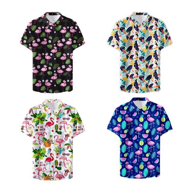 2019 Latest Design Digital Pink Student Flamingo Pattern Men's Casual Shirts Men's Fashion