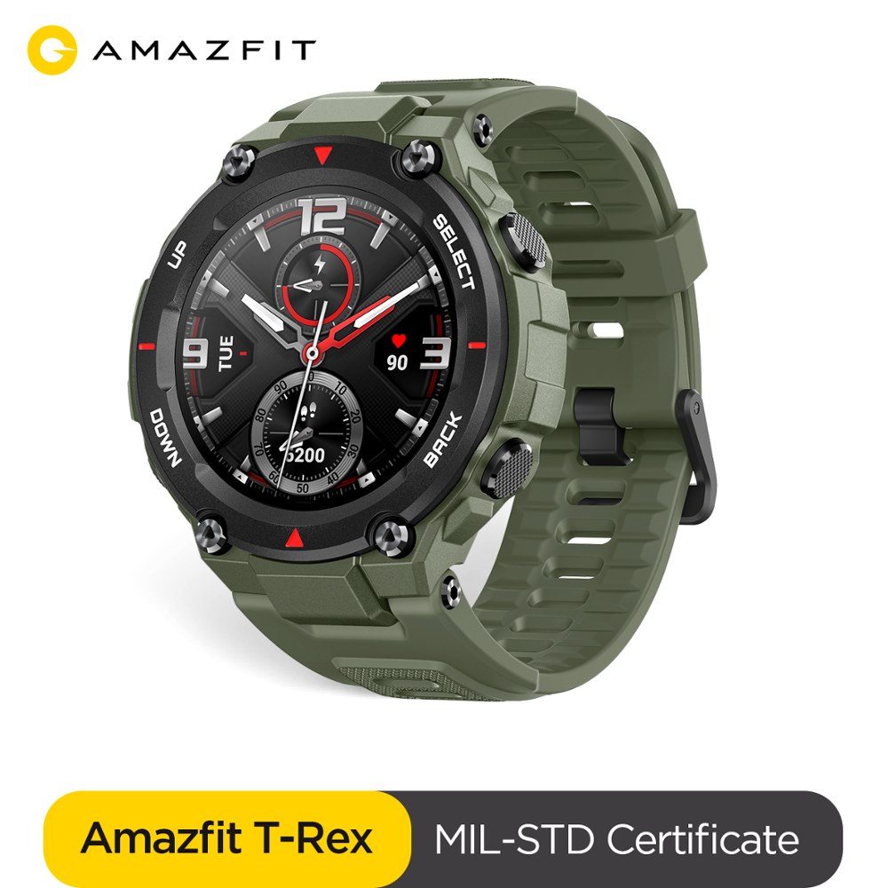 Huami Amazfit T-rex Smartwatch 5ATM Heat Cold Resistant MIL-STD Smart Watch GPS/GLONASS AMOLED Screen For Xiaomi IOS Android