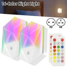 2pc led night light 16 color colorful smart mini for baby room