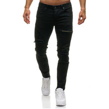2017 Summer Fashion Ripped New Biker Slim Jeans Motorcycle Style Elastic Men Jeans Slim Fit Washed Pants Destroyed Men Pant(China)