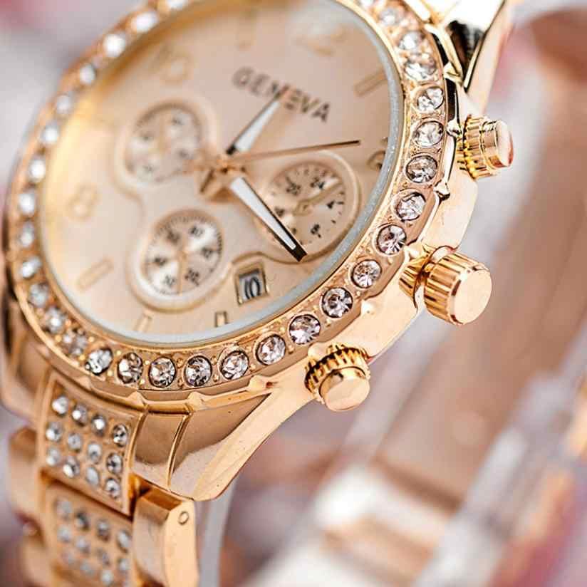 Genève montres femmes 2020 marque de mode montres de luxe Relogio Feminino dames or acier montre à Quartz décontracté cristal strass
