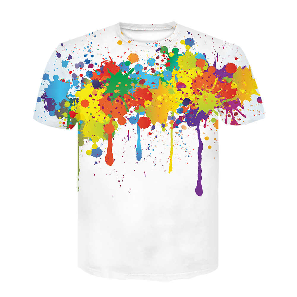 Tie Dye 3D Gambar Musim Panas Pria/Wanita Plus Ukuran Kasual Tops 2020 Fashion Off Putih Streetwear T Shirt lengan Pendek Tee