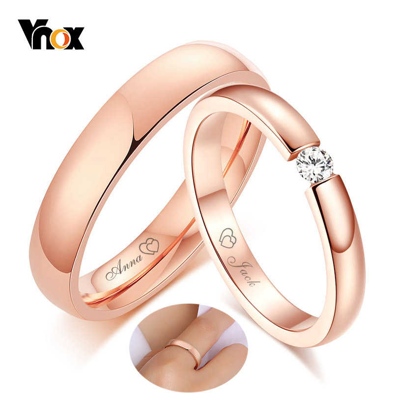 Vnox His and Her Free Custom Engraving Name Wedding Anniversary Date Rings for Women Man 585 Rose Gold Tone Love Promise Gifts