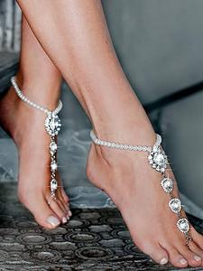 Crystal Anklet Sandals Leg-Chain Foot-Jewelry Boho Wedding-Barefoot Sexy Beach Fashion