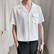 Летняя Корейская рубашка с коротким рукавом Мужская модная однотонная