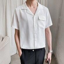 Dress Shirt Business Loose Mens Streetwear Short-Sleeved Korean Solid-Color Men's Fashion