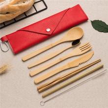 Eco-Friendly Bamboo Dinnerware Set Wooden Spoon Fork Knife Chopsticks Kitchen Kit for Work School Outdoor Travel Cutlery