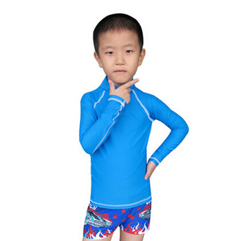 Surfing Sports Teenager Sun-resistant Bathing Suit Tight Sha Tan Yi Long Sleeve Children Kids Sun-resistant Clothing Currently A