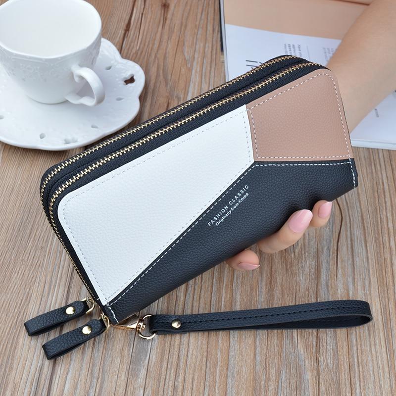 Female Big Capacity Clutch Wallets Phone Pocket Purse Card Holder Patchwork Double Zipper Women Long Wallet Carteras De Mujer.
