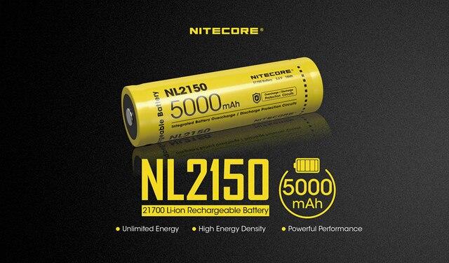 1pcs NITECORE 21700 battery 3.6V Li ion rechargeable batery 4000mah 4500mah 5000mah NL2140 / NL2145 / NL2150 battery protective