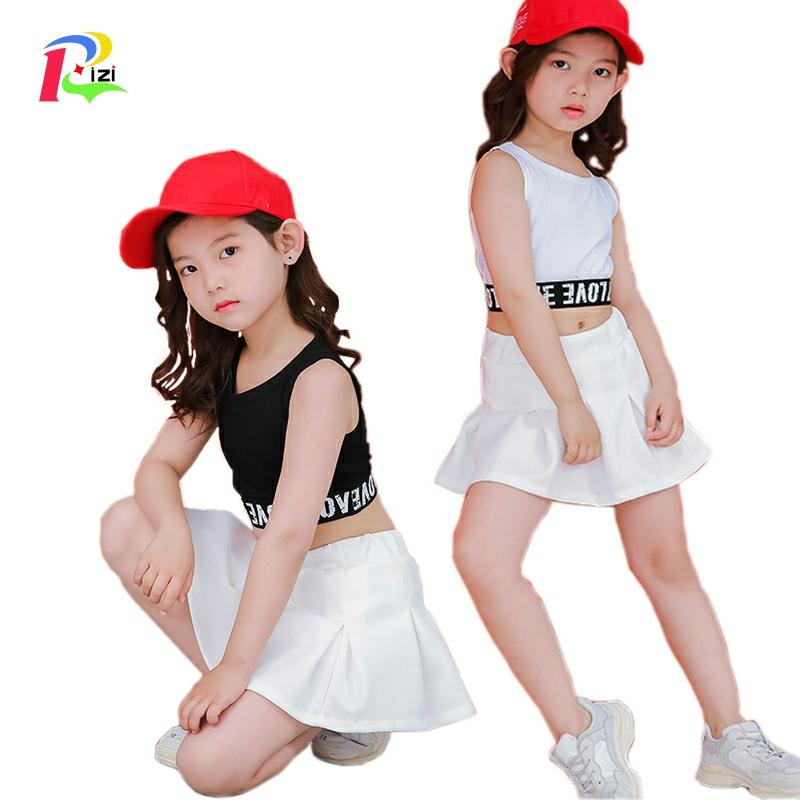 Lovely Casual Two Piece Kids Crop Top Skirt Set For Girls 4 <font><b>6</b></font> 8 <font><b>10</b></font> 11 <font><b>12</b></font> 13 14 15 16 Years Teenage Girls Summer Clothes 2019 image