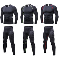 Men's Tight Training Long Sleeve Tops Sports Trousers Fitness Sportswear Set SPSYL0085