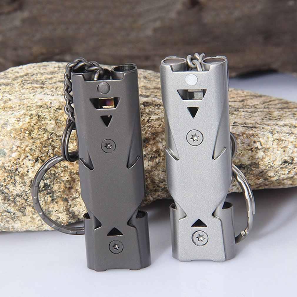 2018 Kualitas Tinggi Ganda Pipa Decibel Tinggi Stainless Steel Survival Whistle Gantungan Kunci Pemandu Sorak Peluit
