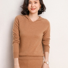 Fashion Suit 2020 Autumn Winter 100% Cashmere And Wool Knitted Sweater Women Tops And Wide Leg Pant Two-Piece Female Suits