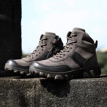 الرجال الأحذية العسكرية التكتيكية القوة الخاصة ماركة الجيش أحذية الكاحل الصحراء جودة الجلود التمويه الرجال أحذية العمل زائد الحجم 47 1
