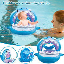 Summer New Products With Sunshade Baby Swimming Ring Shark Swimming Pool Buoy Cartoon Lifebuoy Children Yacht Seat Ring Yacht