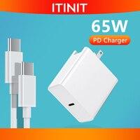 ITINIT-cargador de ordenador portátil C11 de 65W, adaptador de corriente PD con Cable de carga tipo C para MacBook Pro Air, Xiaomi, Huawei, HP, Lenovo, enchufe europeo