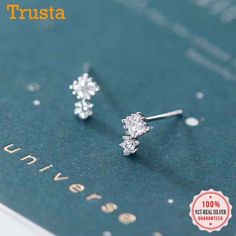 Trustdavis Authentic Minimalist 925 Sterling Silver Mini Lovely White CZ Stud Earrings For Women Sterling Silver Jewelry DA941
