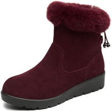 2019 New Winter Rabbit Fur Top Matte Cowhide Leather Boots Women Snow Boots Fashion Casual Flat Boots Winter Shoes Women Boots(China)