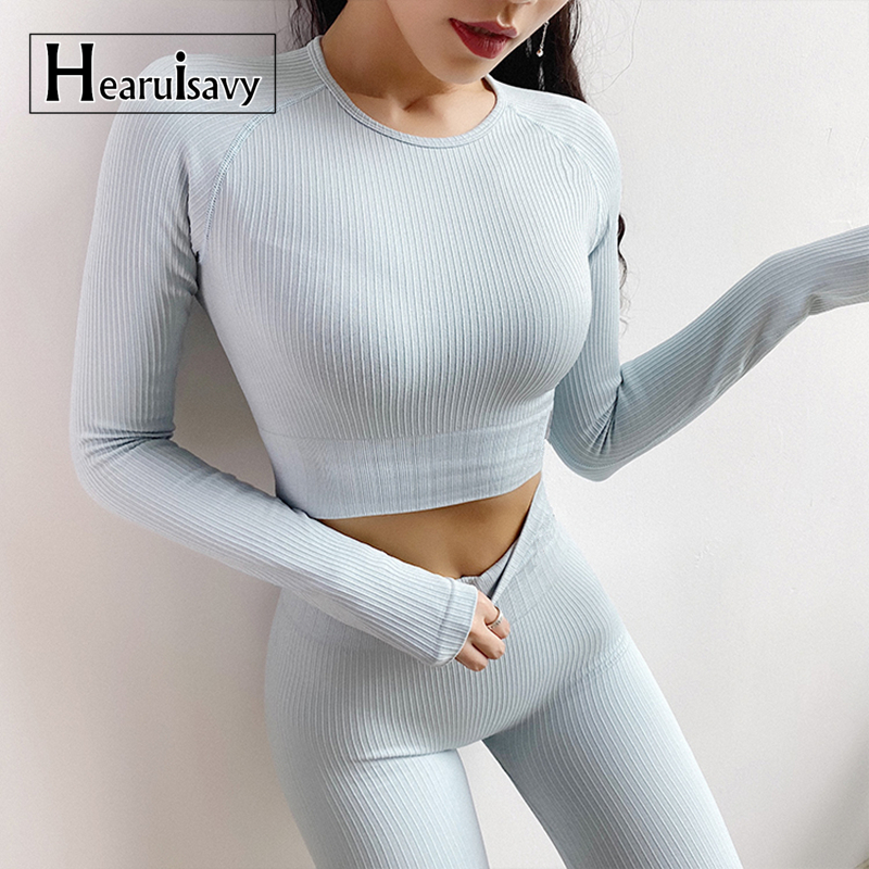 Women Seamless Crop Top Workout Flexible Four-way Knit Yoga Tops Athletic Fitness Clothing Running Long Sleeve Sports Tops Gym