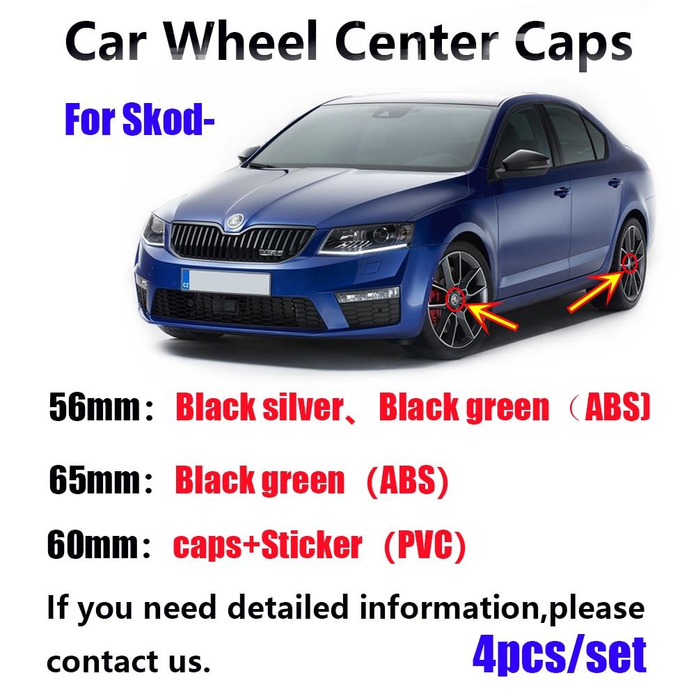 4pcs/lot 56mm 60MM 65MM Black silver Car Wheel Hub Caps Center Cover For Skoda Octavia Fabia Superb Rapid Yeti 5JA601151A