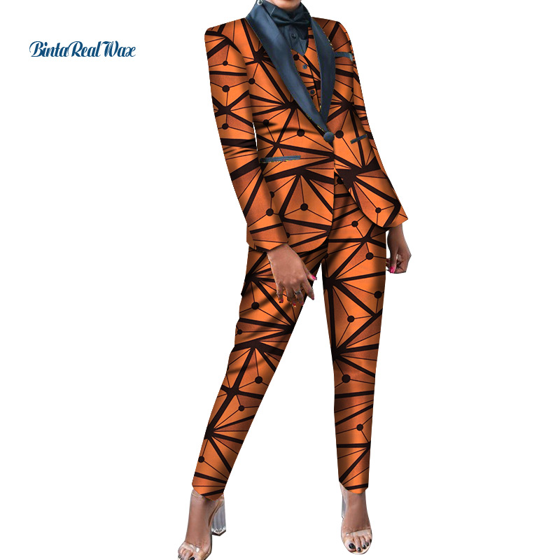 3pcs Set Office Women Clothes African Print Patchwork Turn-down Collar Blazer Vest Suit For Women Bazin Riche Pants Sets WY4468