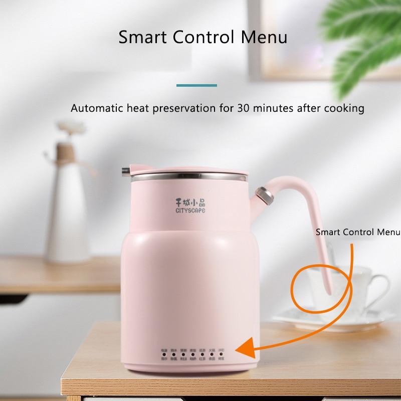 220V Electric Kettle Multifunction Kettle Portable Hot Pot Porridge Rice Cooker 316 Stainless Steel Insulation Tea Pot 550ML