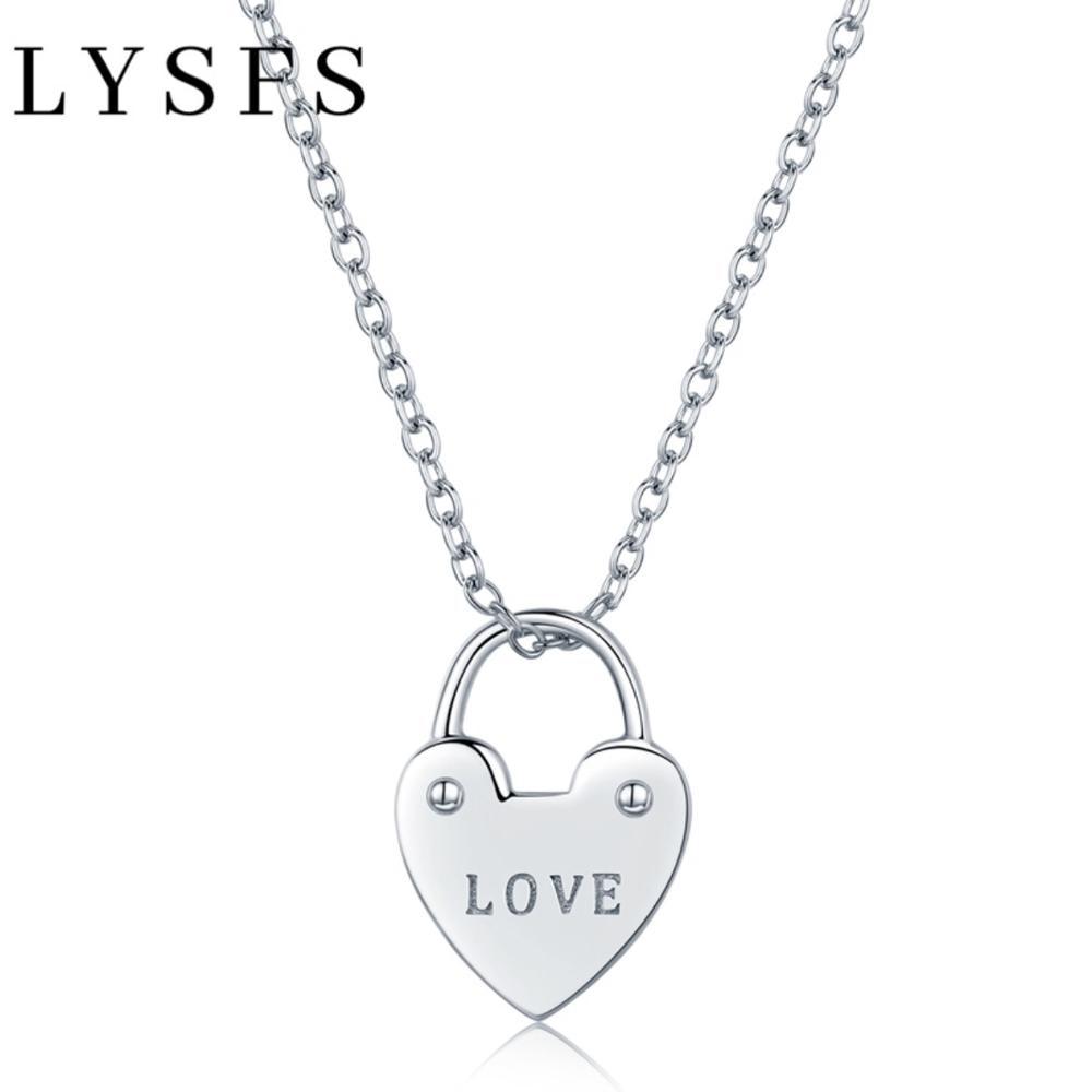 LYSFS 925 Sterling Silver Heart Lock Love Shape Link Chain Necklaces & Pendants Women Fine Jewelry