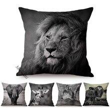 Sofa Pillow Cases Cushion-Cover Decoration Linen Cow-Print Animals Art Lion Square Almofadas